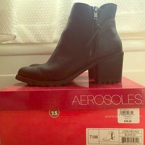 Black heeled side zip boots Aerosoles